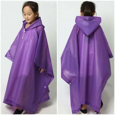 Kids Children Rainwear Waterproof Hooded Rain Coat Outwear Poncho Raincoat