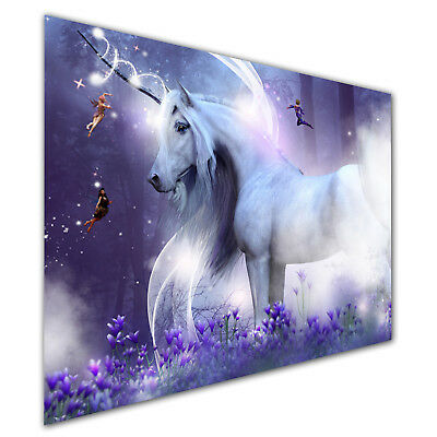 Purple Unicorn Magic Fly Horse Canvas Abstract Prints Art Wall Pictures Unframed