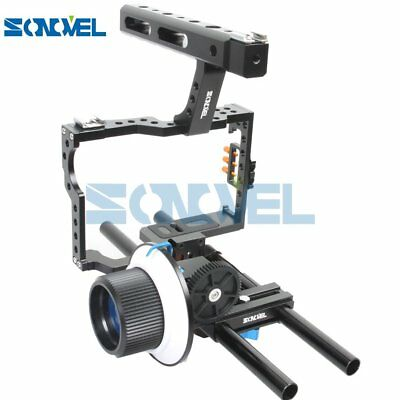 Sonovel Rod Rig DSLR Video Cage +Top Handle Grip + Follow Focus for A7 A7r A7s