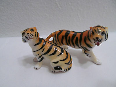 Vintage Tigers Hand Painted Bone China Porcelain Tiger Family Made In Japan