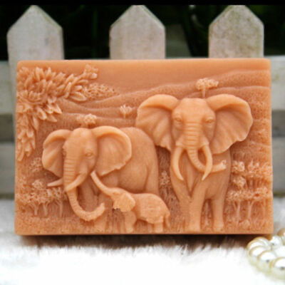Elephant Family Making Mould Silicone Soap Candle Mold Craft Handmade DIY Molds