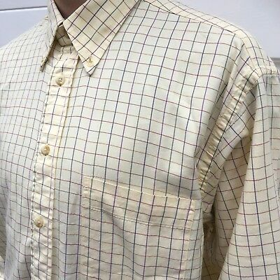 Mens Vintage 80s Burberry Shirt M Check Checked Shirt Long Sleeve Top Nova Check