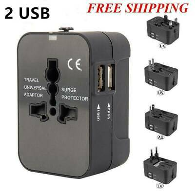 Universal Travel Charger Adapter Dual 2 USB Wall AC Power to AU EU US UK