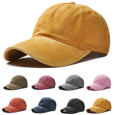 LC_ Solid Baseball Cap Plain Blank Strapback Adjustable Solid Hat Polo Style E