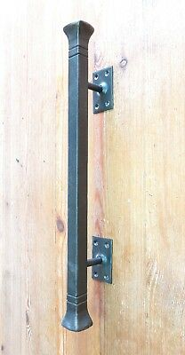 """Push Pull Door Handle Hand Forged Solid 16.5"""" Wrought Iron Barn Entrance Entry"""