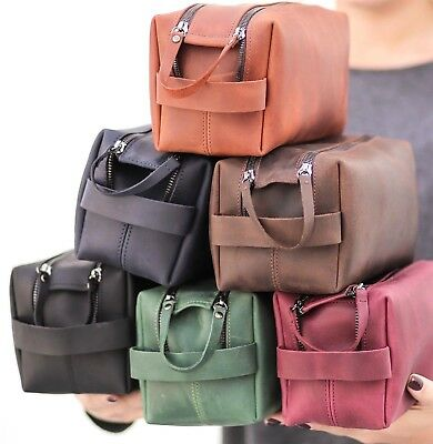 cef1cf23458b Leather Toiletry Dopp Kit Travel Case Travel Leather Cosmetic Bag Christmas  Gift