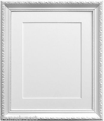 Elegant White Shabby Chic Picture photo Frames Choice of Mount Colours & Sizes