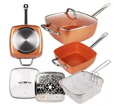 """New Square Induction Copper Coated Frying Pan 9.5"""" Deep Side Cooking Kit & Lid"""
