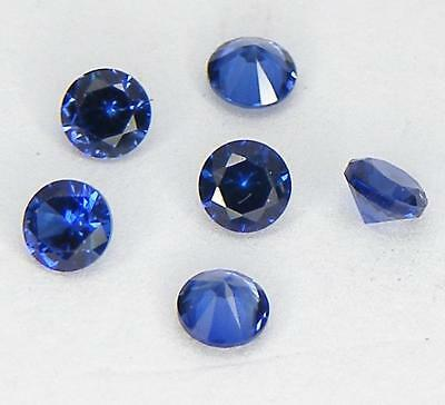 6 Pcs. 2.6 Mm. Machine Cut Blue Sapphire Lab Corundum