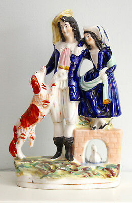 A Beautiful Large c19th Antique Victorian Staffordshire, Young Couple & Hound