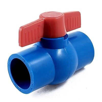 40mm x 40mm Slip Full Port Red Handle Lever U-PVC Ball Valve Blue G6Q5