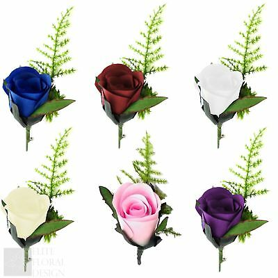 Artificial Rose Romance Button Hole with Lapel Pin Groom Best Man