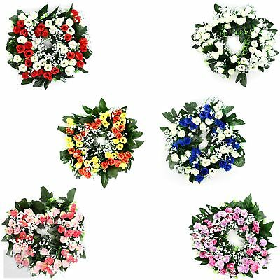 Artificial Flower Rosebud and Gyp Wreath Funeral Grave Memorials 30cm