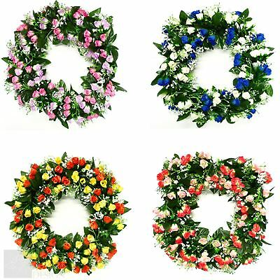 Artificial Flower Rosebud and Gyp Wreath Funeral Grave Memorials 42cm