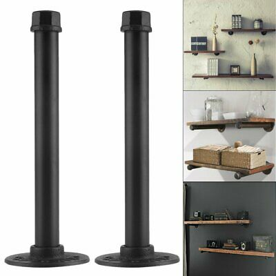 PAIR OF INDUSTRIAL PIPE BRACKET Heavy Iron Shelf Support Set High Quality Flange