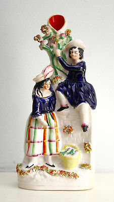 A Good c19th Antique Victorian Staffordshire Group, the Apple Pickers