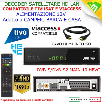Decoder Satellitare Digitale Rx540 Ev Digiquest Lan + No Tessera Tivusat Compati