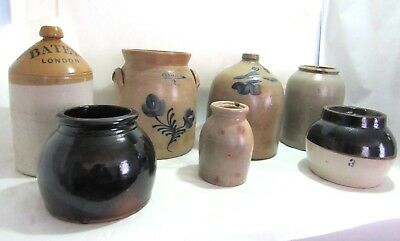19th Century Antique Salt Glaze Cobalt Stoneware Crock Jug Pot Collection Lot