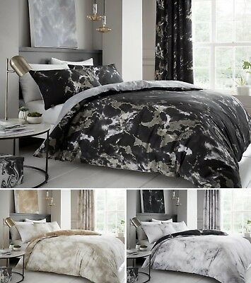 Marble Effect Duvet Quilt Cover Bedding Set Single Double King With Pillowcase