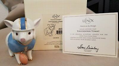"Lenox ""touchdown Tommy"" Pig Figurine- New In Box W/coa"