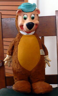 Vtg Knickerbocker Huckleberry Hound Toy Plush Yogi Bear Rubber Face