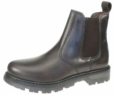 Oaktrak Rocksley Brown Chelsea Leather Ankle Boots Pull On Boys