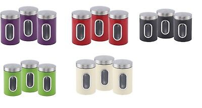 Stainless Steel Canisters Jar, with window Tin Storage Set of 3 NEW
