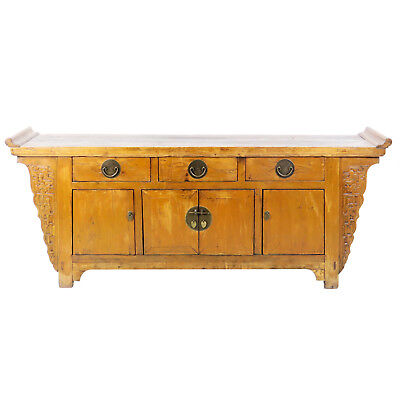"Antique Chinese 82"" Long Elm Wood Sideboard Buffet Cabinet Credenza"