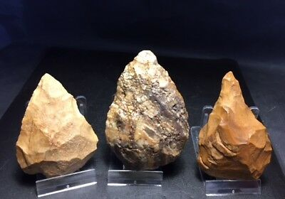 a trio of acheulian handaxe !! nice lot !!!