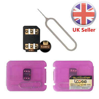 UK New R-SIM 12 Nano Unlock Card fits iPhone X/8/8p/7/6/6sp/5S 4G ios 11.x 10.x