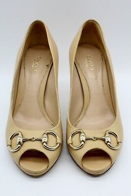 93471666b47 Gucci Tan Leather Horse Bit Buckled Peep Toe Heels Made in Italy Size 6