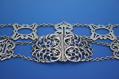 ANTIQUE STERLING SILVER BELT AND BUCKLE - BIRMINGHAM 1903 - L. EMANUEL - 140.2g