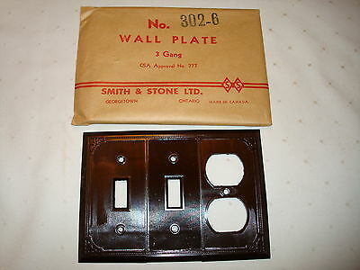 Vintage Smith & Stone Bakelite 3 Gang Brown Ribbed Combo Wall Plate Nos 302-6