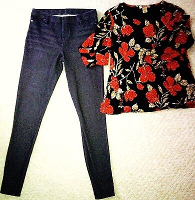Womens 2 PC Outfit Notations/F. Glory Sm-Jeggings Pants Lg-Top Blouse Black Red