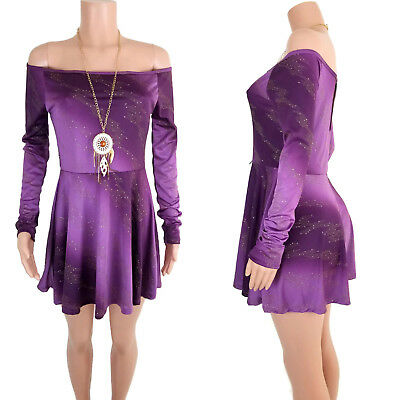 NWT OFF THE SHOULDER PURPLE SKATER LONG SLEEVES WOMEN DRESS Made in USA