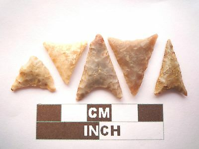 Neolithic Arrowheads, 5 x Triangle Style Artifacts - 4000BC - (Z062)