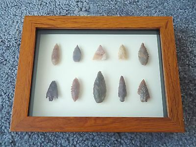 Neolithic Arrowheads in 3D Picture Frame, Authentic Artifacts 4000BC (0155)