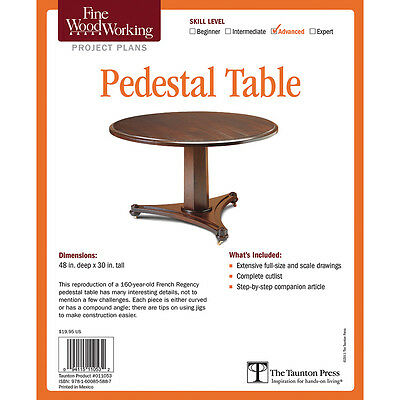 Pedestal Table Project, Printed Plan