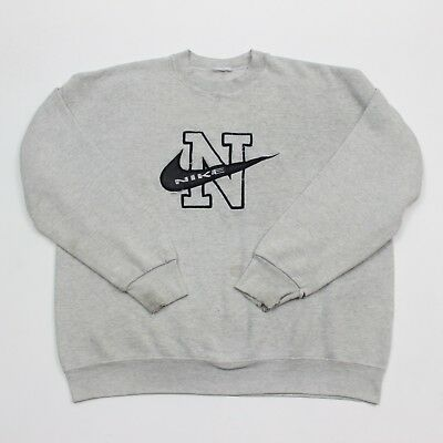 VTG 90s Nike Spell Out Gray Swoosh Logo L/S Sweatshirt Men's Size Large
