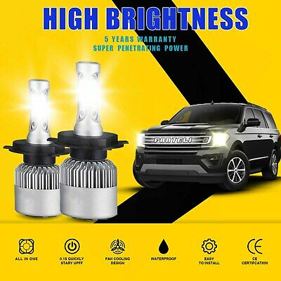 CREE H4 HB2 9003 1800W 270000LM 4-Sided LED Headlight Kit Hi/Lo Power Bulb 6000K