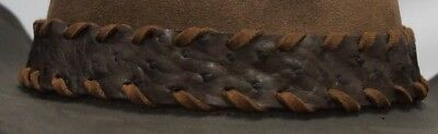 Genuine Ostrich leather HAT BAND Brown with Tan Leather Lacing Adjustable