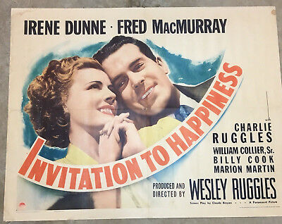 "Original 1/2 Sheet Movie Poster. ""Invitation To Happiness"" 1939"