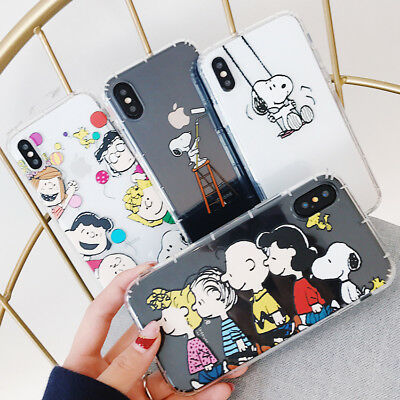 For iPhone 11 Pro XS Max X 8 7 6 Cute Cartoon Snoopy Silicone Phone Case Cover
