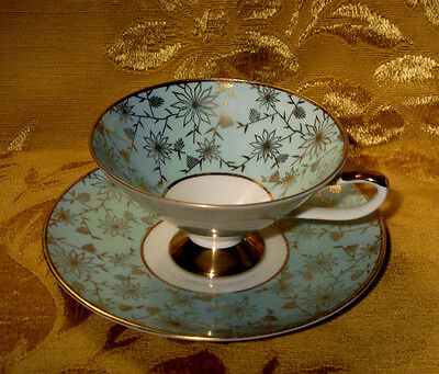 Eberthal Bavaria Footed Cup & Saucer Set Floral Gold Turquoise Made In Germany