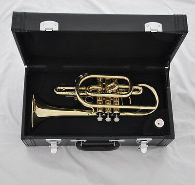 TOP JINBAO Gold lacquer piston Bb Cornet horn with mouthpiece leather case