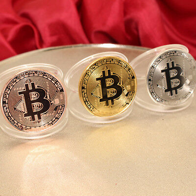 NEW Hot!Rare! Gold Silver Plated Physical Bitcoin in protective acrylic Case 3PC
