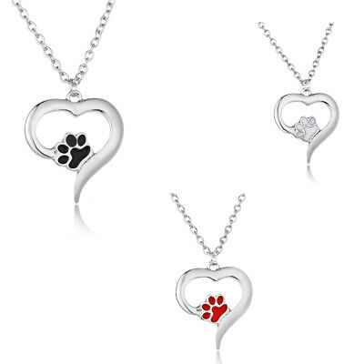 925 Silver Lovely Pet Paw Dog Cat Puppy Footprint Pendant Necklace Jewelry Gift