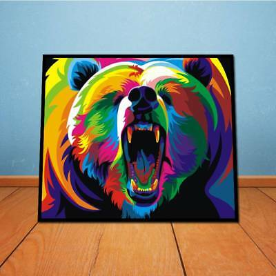 Watercolor Bear On Canvas Unframed Oil Painting Modern Abstract  Wall Decor  W