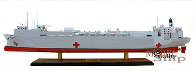USNS Mercy T-AH 19 Hospital Ship - Handmade Display Wooden Ship Model NEW