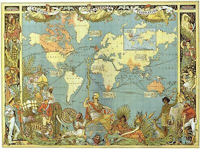 Vintage Style Map of The World Art Silk Poster 12x18 24x36 24x43